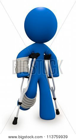 Injured 3D Man With Crutches And Cast