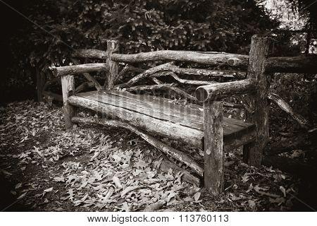 Central Park Autumn bench in midtown Manhattan New York City