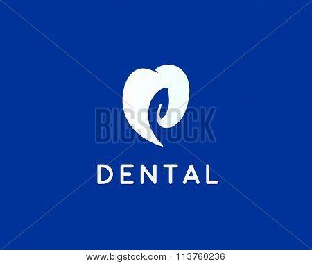 Dentist logo design template. Tooth creative symbol. Dental clinic vector sign leaf mark negative sp