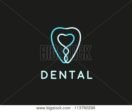 Dentist logo design template. Tooth creative line symbol. Dental clinic vector sign mark icon.