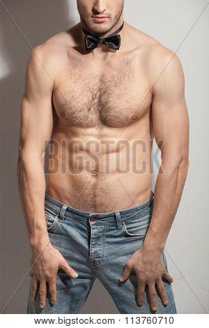 Cute fit guy is evincing his desire