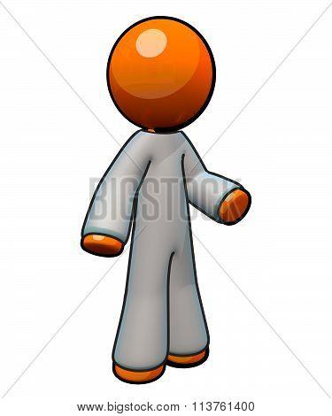 3D Orange Man Wearing Coveralls