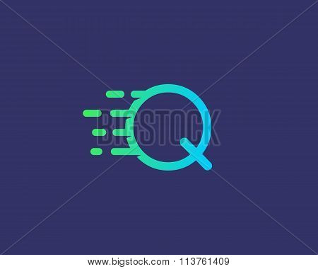 Abstract letter Q logo design template.  Dynamic vector unusual line font. Universal fast speed fire
