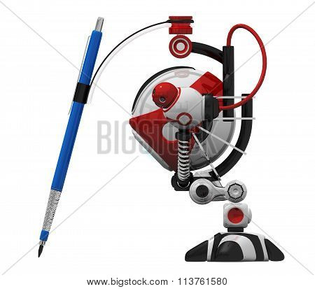 Designer Robot With Mechanical Pencil Side Orthographic View.