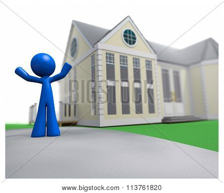 3D Blue Man Happy Over New House Real Estate Illustration