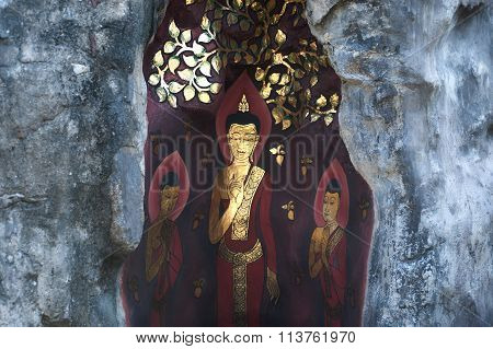 Mural Buddha In Ancient Temple, Bangkok.