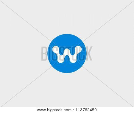 Abstract letter  W logo design template. Round creative sign. Universal vector icon.