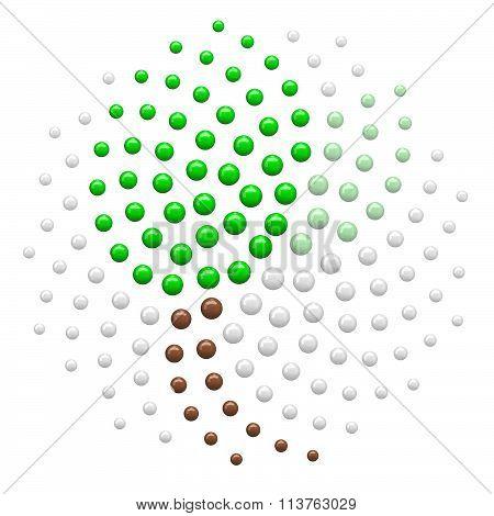 Clipart 3D Spiral Fibonacci Mathematics Plant Leaf Dot Pattern - Royalty Free Illustration