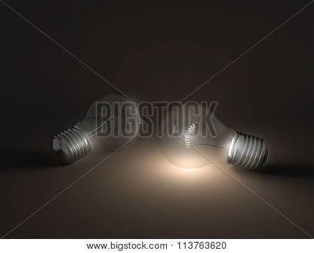 Glowing Light Bulb Contrast