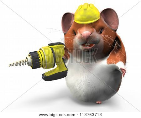 Hamster With Drill Ready To Work