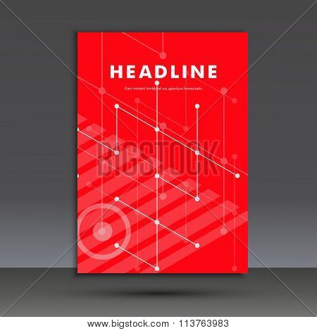 Abstract pattern of lines and circles. Title page A4. Vector illustration