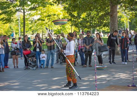 LONDON, UK - SEPTEMBER 10, 2015:  Street performance by African's artists at south embankment of the