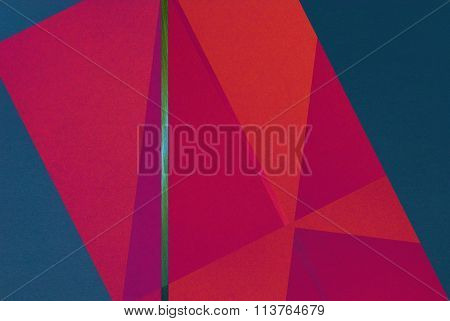 Golden Line On Color Paper Background - Abstract Graphic Design