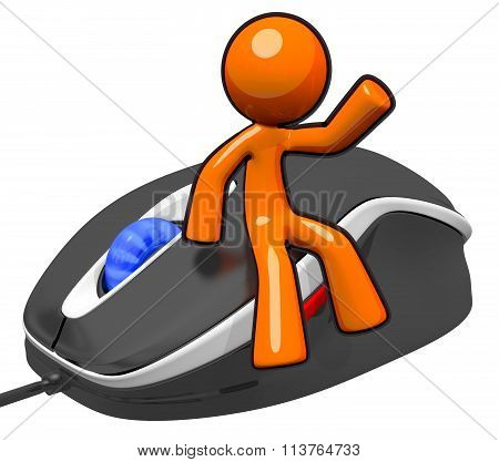3D Orange Man Sitting On Mouse
