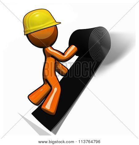 Orange Man Roofer Working