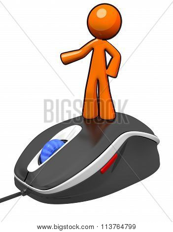 3D Orange Man Standing On Mouse Presenting