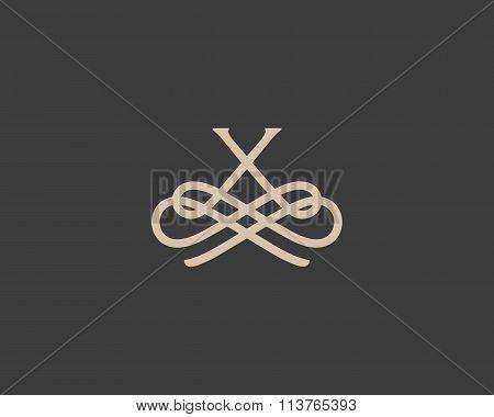 Abstract monogram elegant flower logo icon design. Universal creative premium letter X initials orna