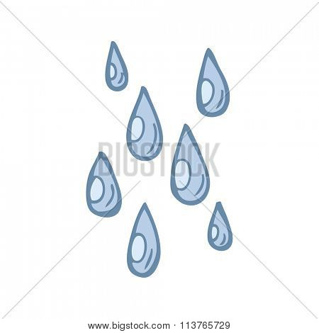 freehand drawn cartoon raindrops