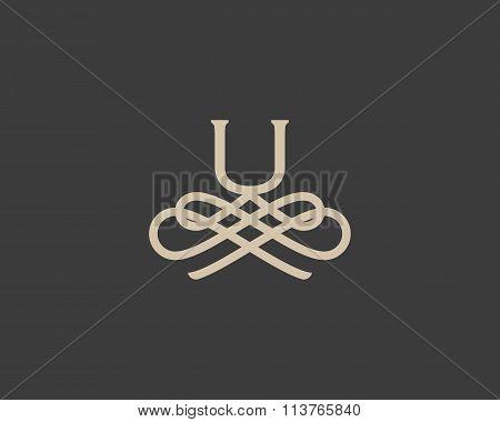 Abstract monogram elegant flower logo icon design. Universal creative premium letter U initials orna