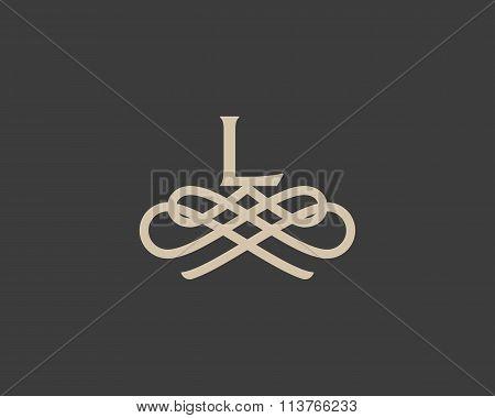 Abstract monogram elegant flower logo icon design. Universal creative premium letter L initials orna