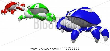Red Green And Blue Scutter Robots In Line
