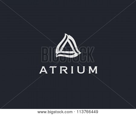 Abstract flower logo icon vector design. Elegant letter A, basis premium sign.