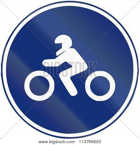 Road Sign Used In Spain - Mandatory Motorcycle Lane