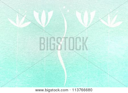 white flower painted on aqua watercolor background
