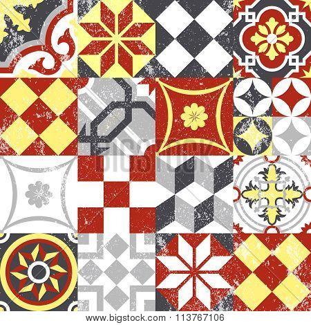 Vintage Patchwork Seamless Pattern Mosaic Tile