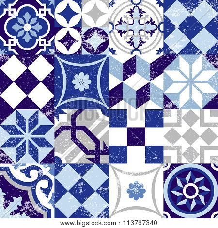 Seamless Pattern Vintage Blue Tile Decoration
