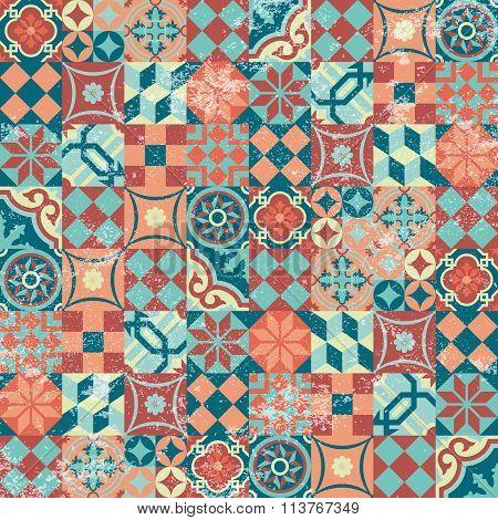 Seamless Pattern Patchwork Vintage Mosaic Oriental
