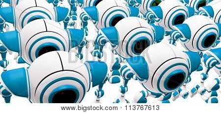 Crowd Of Robots Standing In Rows