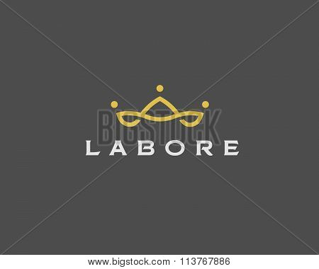 Abstract team company logo icon vector design. Elegant crown premium symbol. Unique partners logotyp