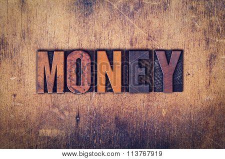 Money Concept Wooden Letterpress Type