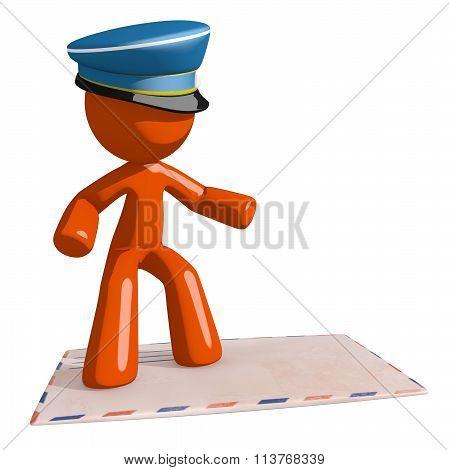 Orange Man Postal Mail Worker Surfing On  Envelope