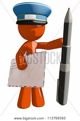 Orange Man Postal Mail Worker With Pen And Envelope