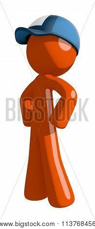 Orange Man Postal Mail Worker Hero Stance