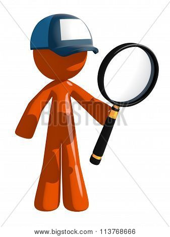 Orange Man Postal Mail Worker Holding Magnifying Glass