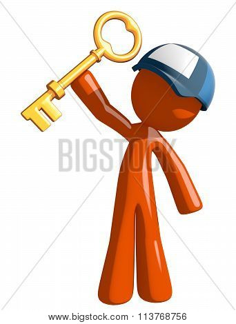 Orange Man Postal Mail Worker Holding Up Key To Success