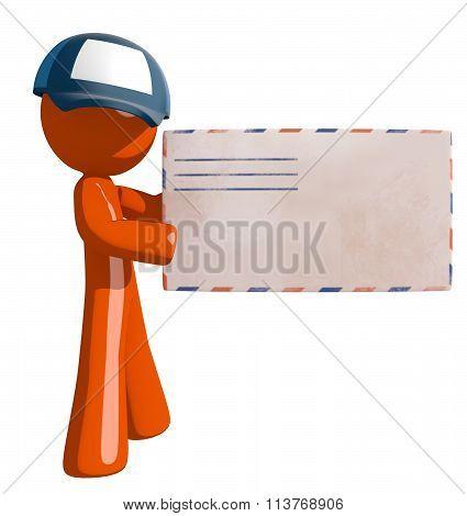 Orange Man Postal Mail Worker Envelope