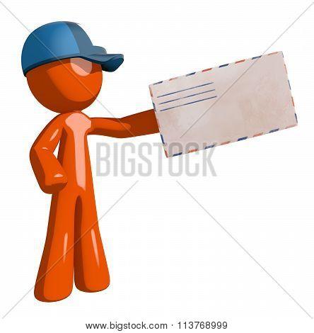 Orange Man Postal Mail Worker Presenting Envelope