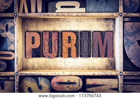 Purim Concept Letterpress Type