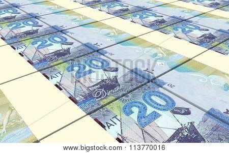 Kuwait dinars bills stacks background. Computer generated 3D photo rendering.