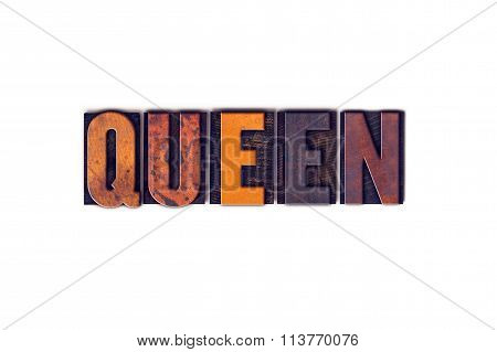 Queen Concept Isolated Letterpress Type