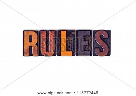 Rules Concept Isolated Letterpress Type