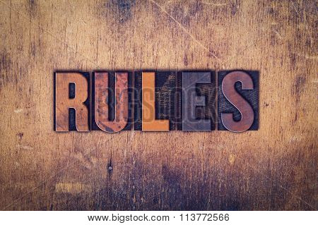 Rules Concept Wooden Letterpress Type