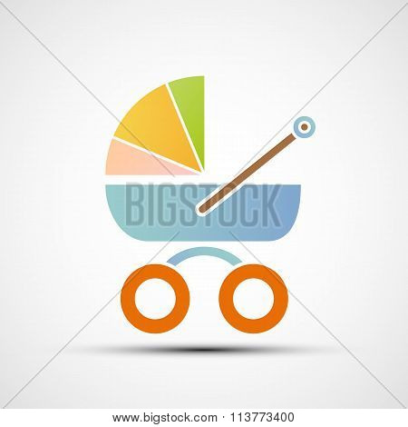 Baby Carriage. Stock Illustration.