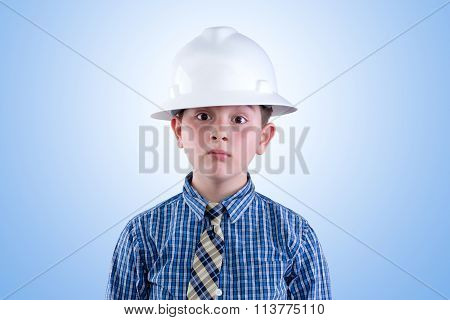 Aspiring Young Engineer In Hardhat And Necktie