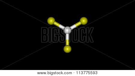 Boron trifluoride molecular structure isolated on black