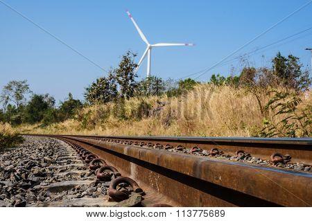 Railroad And Wind Turbine